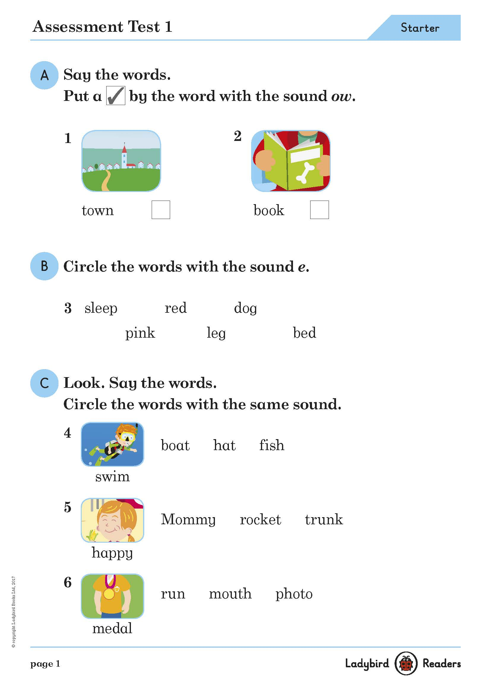Ladybird Readers Starter Assessment Tests and Answer Keys